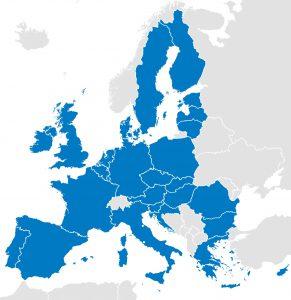 Politieke kaart van de landen van de Europese Unie met grenzen