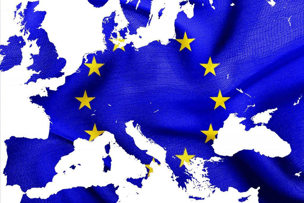 Over ons Kaart van de Europese Unie met vlag EU